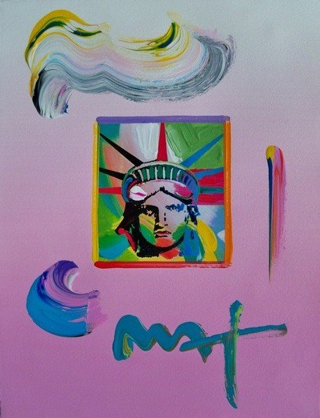 150: Peter Max LIBERTY HEAD 4 Hand Signed Original Mixe