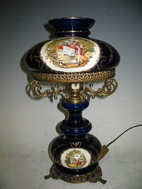 10: Antique French Blue Cobalt Porcelain Lamp