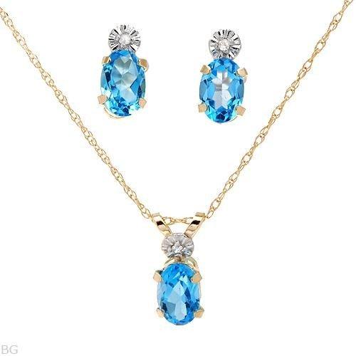 11: Elegant Blue Topaz & Diamond Set Appraised $2,095