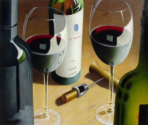 154: Huge Oil Painting on Canvas  - Fine Wine