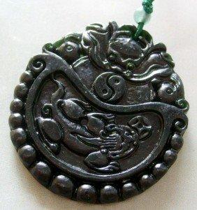 4: Jade Carving PI-XIU Dragon Tai-Ji Amulet Pendant