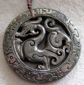 18: Black Green Jade Super Power Dragon Amulet