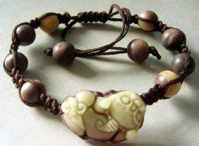 23: Antique Zipao Jade Pi-Xiu Dragon Beads Bracelet