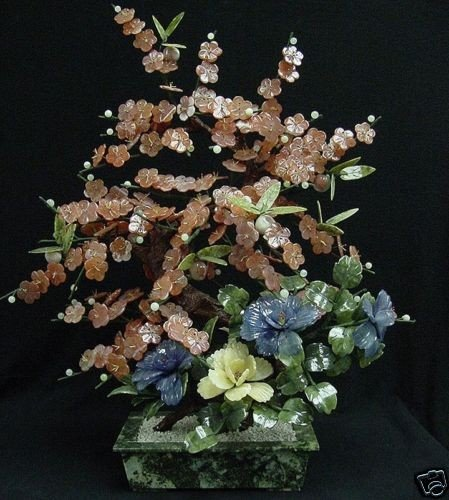 6: Hand Carved Natural Jade Cherry Plum Flowers