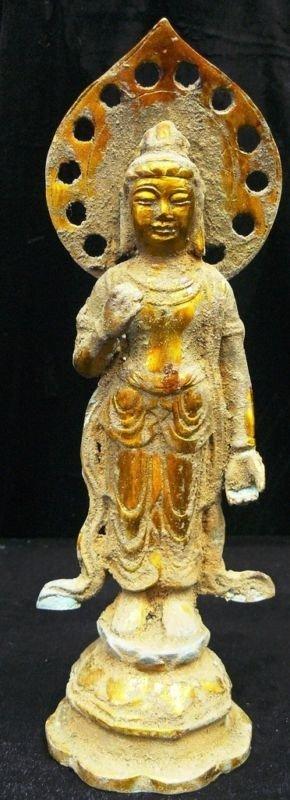 9: Antique Brass Standing Kwanyin