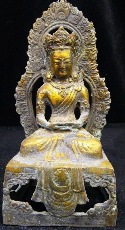 12: Antique Brass Sitting Kwanyin