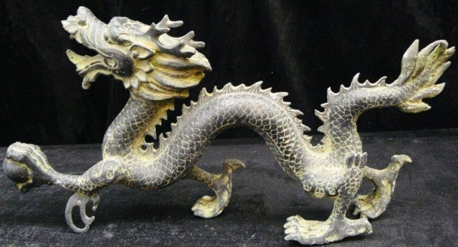 13: Hand Carved Antique Brass Dragon