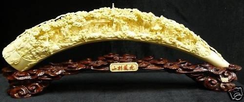 15: Antiquenized Hand Carved Natural Cow Bone Village