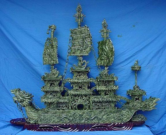 """2: Rare Hand Carved 60"""" Green Jade Boat"""