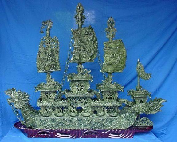 """3: Rare Hand Carved 48"""" Green Jade Boat"""