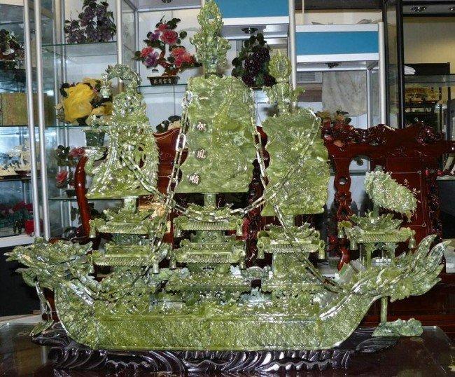 "4: Large 38"" Green Jade Dragon Boat"