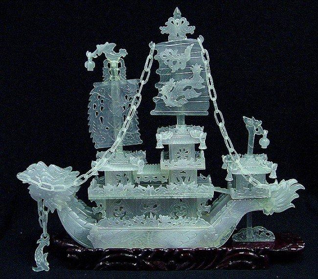 """6: Hand Carved 24"""" Lavender Jade Dragon Boat"""