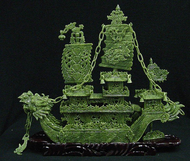 """7: Hand Carved 24"""" Green Jade Dragon Boat"""