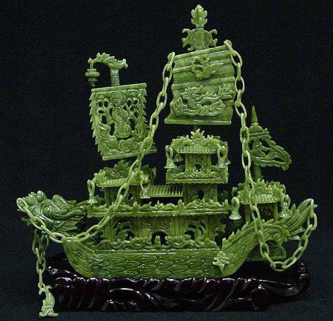 """9: Exquisite 16"""" Green Jade Boat"""