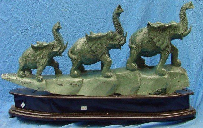 10: Large Green Jade Carving 3 Elephants Mountain