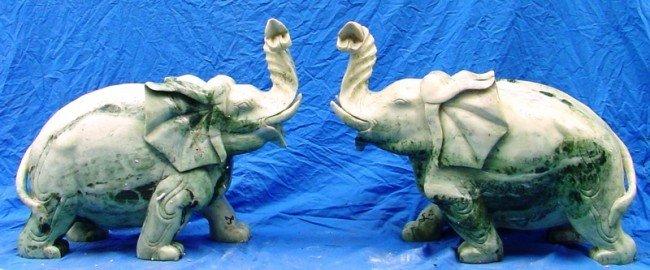 12: Large Pair of Green Jade Elephants