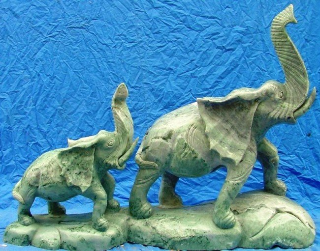 13: Large Green Jade Carving 2 Elephants Mountain