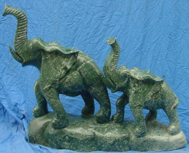 14: Large Green Jade Carving Elephant Mountain