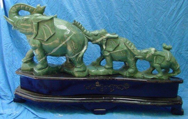 15: Large Green Jade Carving 3 Elephants Mountain