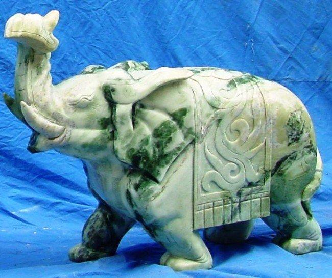 16: Large Green Jade Saddled Elephant Carving