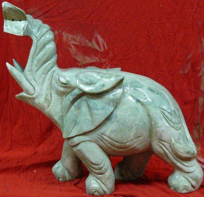 17: Large Solid Jade Carving Single Elephant