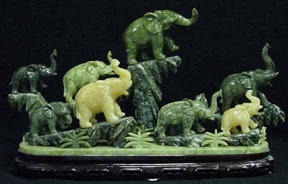 19: Rare Multi-Color Jade Carving 8 Elephants Mountain