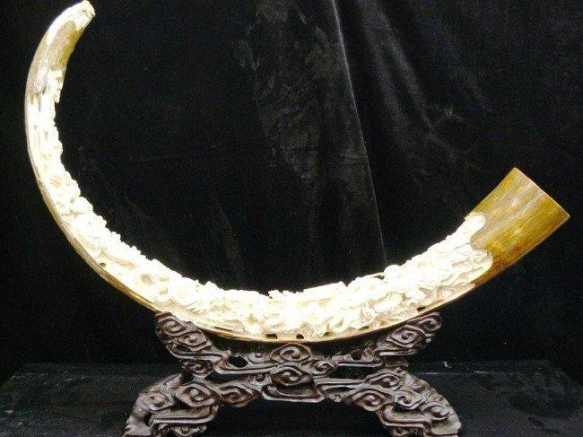 23: Very Rare Hand Carved Mammoth Ivory Nine Dragons