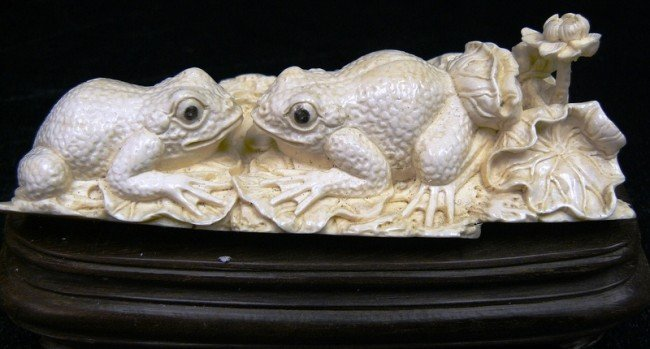 20: Hand Carved Mammoth Ivory Frog Rare and Unique