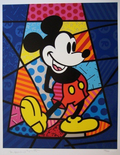 151: Romero Britto MICKEY MOUSE Hand Signed Limited Ed.