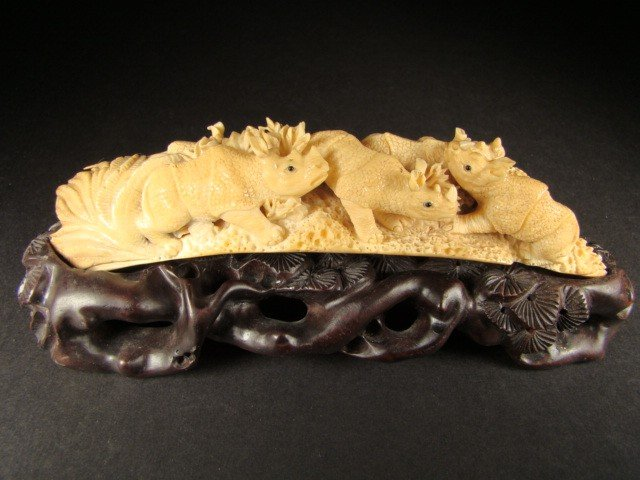 2: Rare Hand Carved Ivory Figurine Rhinocerous Pack
