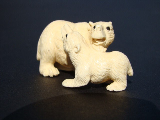 4: Rare Hand Carved Ivory Figurine Polar Bear and Cub