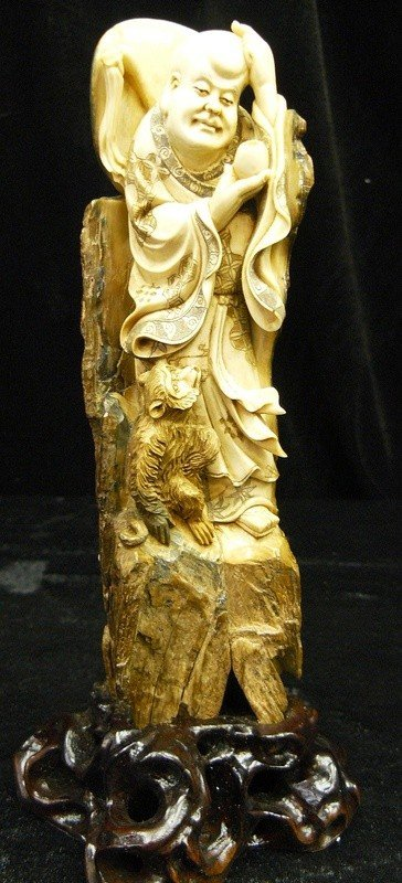7: Rare Hand Carved Ivory Figurine The Monk