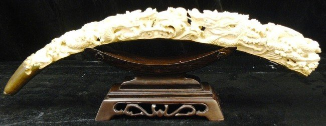 18: Rare Natural Hand Carved Ivory Double Dragons