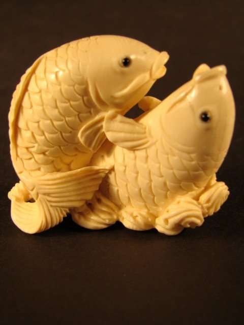92: Rare Hand Carved Ivory Figurine Fish Dance