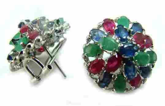 695: 5.80 CT Multi-Color Gemstone Earrings