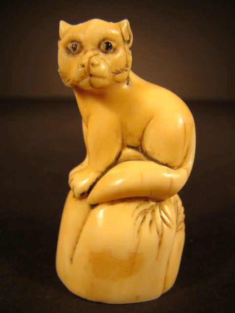 14: Rare Hand Carved Ivory Figurine The Wiley Fox