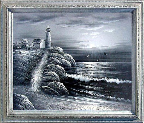 18: Large Framed Oil Painting, Lighthouse in B&W