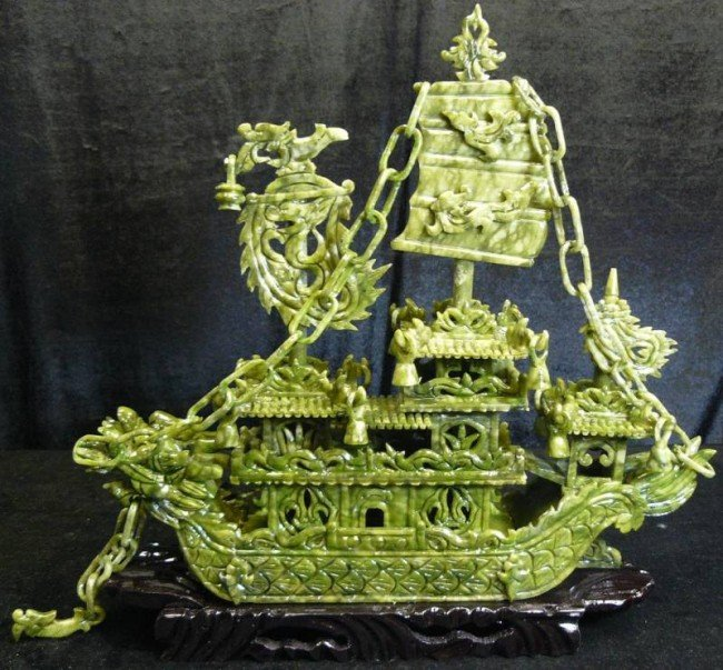 "75: HAND CARVED  24"" GREEN JADE DRAGON BOAT"