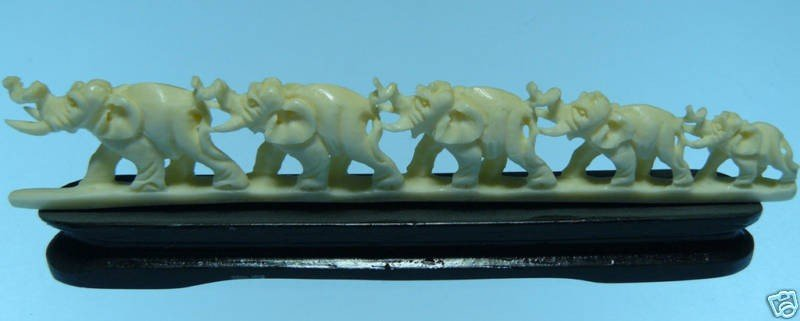 2: Rare Hand Carved Solid Cow Bone Elephants Bridge