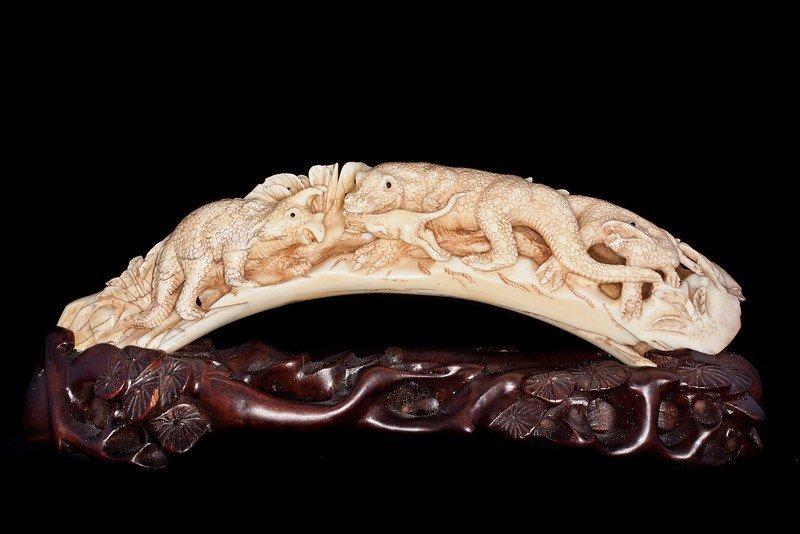 Rare Hand Carved Ivory Figurine Jurrasic Kingdom