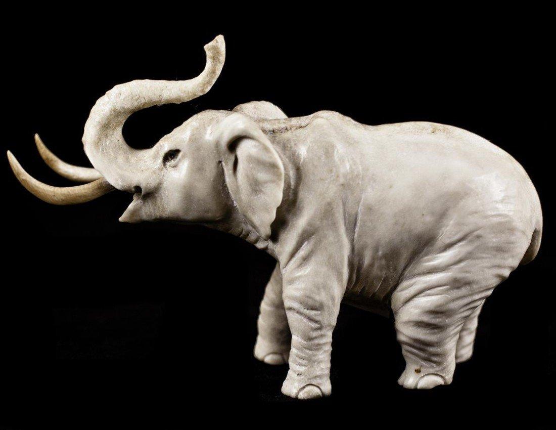 "20: Hippo Ivoy tusk ""PROUD ELEPHANT"" Figurine Carving"