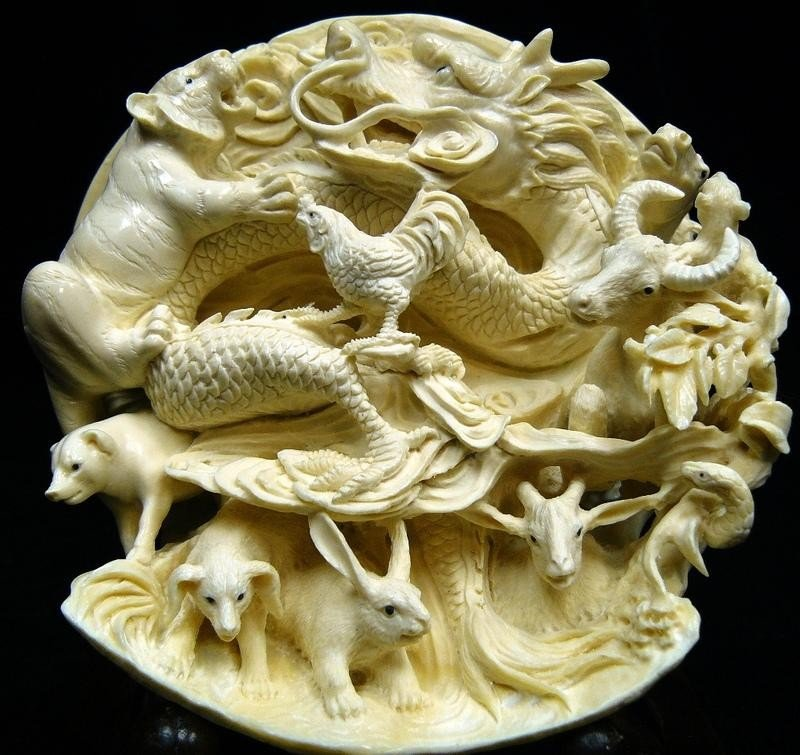 50: Rare Natural Hand Carved Ivory Chinese Zodiac 12