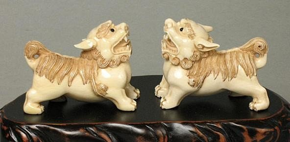 1: Mammoth Ivory Chinese Feng Shui Foo Dogs In Pair Net