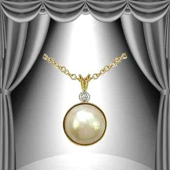 3: Genuine 12mm Pearl Diamond Pendant