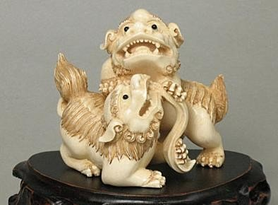 9: Mammoth Ivory Two Playing Chinese Feng Shui Foo Dogs