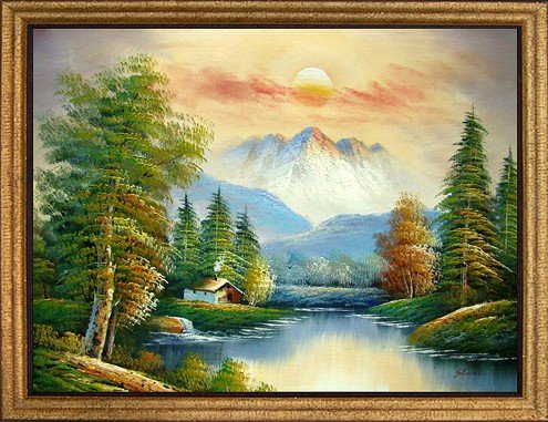 16: Large Framed Oil Painting, Calm Waters
