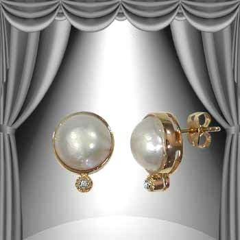 19: Genuine 10.5mm Pearl Diamond Earrings
