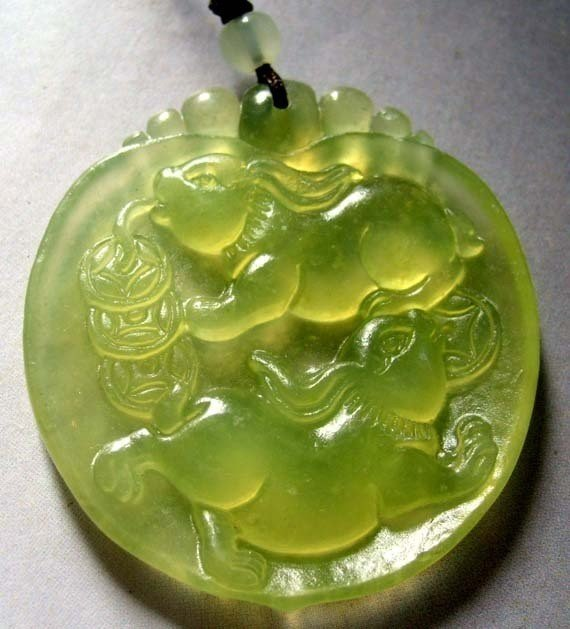 Green Jade Two Lucky Rabbits Coins Pendant