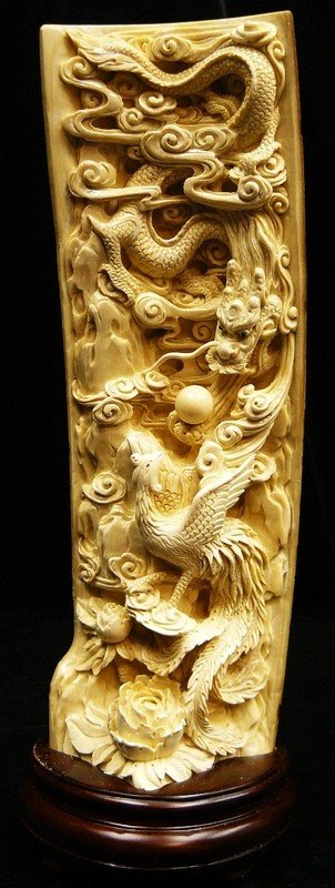 461: Rare Natural Mammoth Ivory Dragon and Phoenix