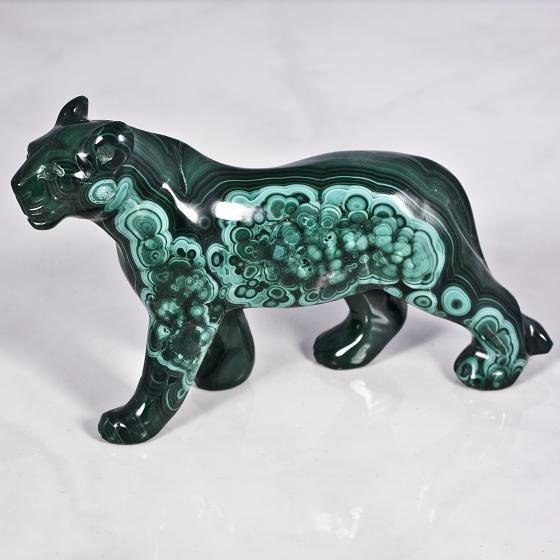 4: Malachite Mineral Figurine Cougar of the Night